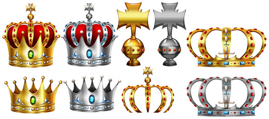 Different design of gold and silver crown