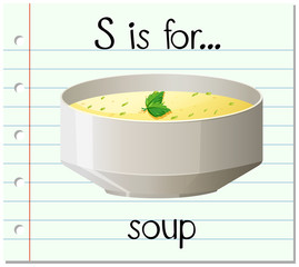Flashcard letter S is for soup