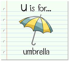 Flashcard letter U is for umbrella