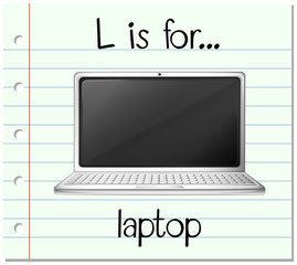 Flashcard letter L is for laptop