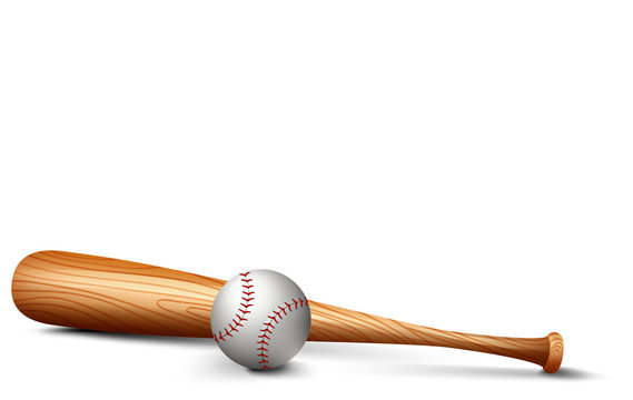 Wooden bat and baseball