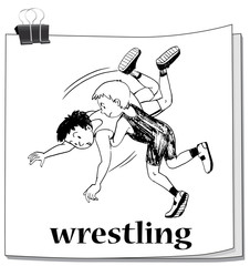 Doodle of athletes doing wrestling