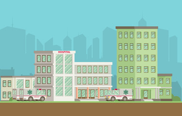 City hospital building in flat style.