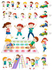Children characters playing games