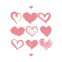 Set of hand drawn hearts isolated on the white background. Monochrome brush ink illustration with hearts.