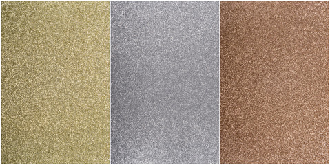 Bronze, silver, and gold background in textured sparkle with thin white outline
