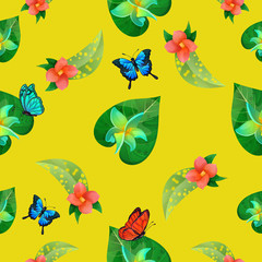 Tropical Flowers. Floral Background. Flowers Seamless Pattern. Exotic Butterflies