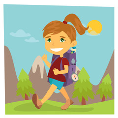 Girl Scout. Girl in Hike. Girl with Backpack. Vector illustration