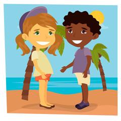 Girl on the Beach. Beach Vacation. Girl and Boy on the Sea.