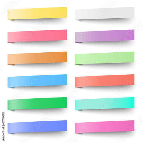 Set Of Pastel Color Sticky Notes Stickers Isolated On White