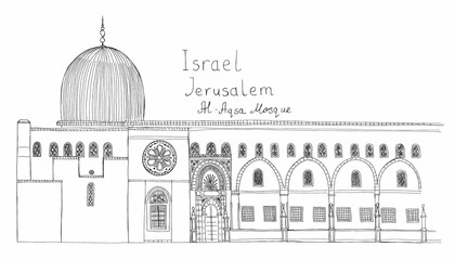 Hand drawn architecture sketch of Israel Jerusalem Al-Aqsa Mosque in Old City with lettering Israel Jerusalem Al-Aqsa Mosque vector