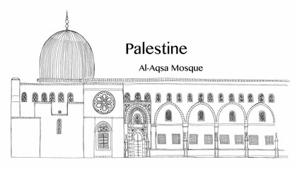 Hand drawn architecture sketch of Jerusalem Al-Aqsa Mosque in Old City with lettering Palestine Al-Aqsa Mosque vector