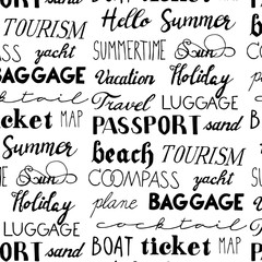 Set of hand drawn summer lettering. Seamless pattern. Travel, beach, passport, ticket, map, tourist, baggage, compass, sun, summertime, yacht, boat, holiday, vacation, luggage, sand, cocktail, plane.