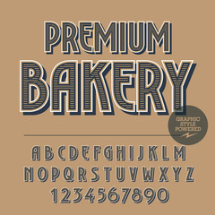 Retro styled set of alphabet letters, numbers and punctuation symbols. Vintage banner with text Premium bakery