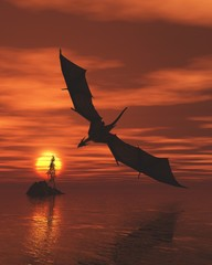 Dragon Flying Low Over the Sea at Sunset - fantasy illustration