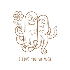Vector card by Valentine's Day with two cute cartoon octopuses in love. Children's illustration. Transparent background. Vector contour image.