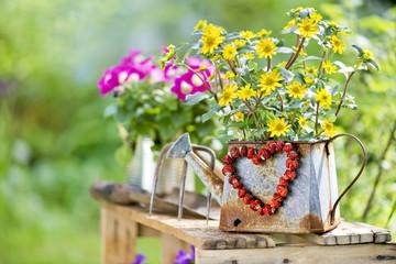 Blumen mit Herz aus roten Beeren im Garten