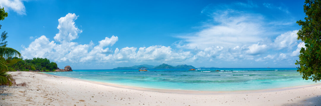 panoramic view of tropical anse severe beach on la digue island in seychelles