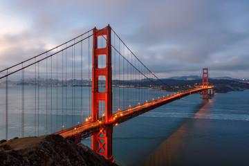 Fotobehang San Francisco Famous Golden Gate Bridge in San Francisco at morning