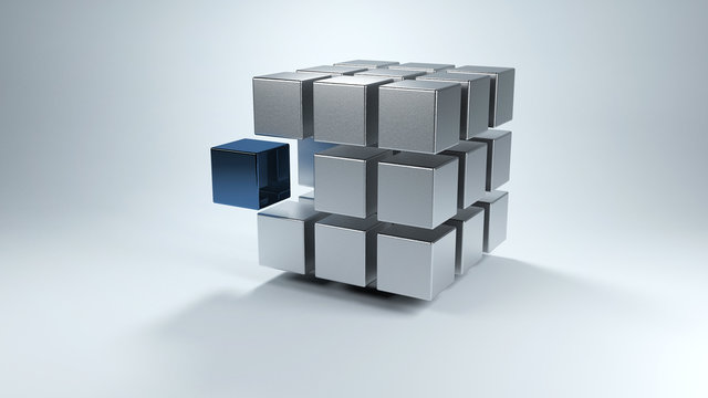 3D cube with sections in gray and one in blue