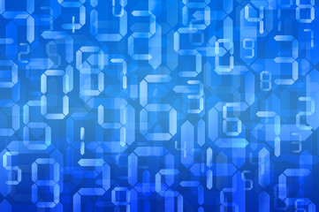 Digital numbers in blue background, Digital technology backgroun