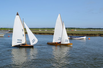 Sailing boats in Wells-next-the-sea harbor, Norfolk, England