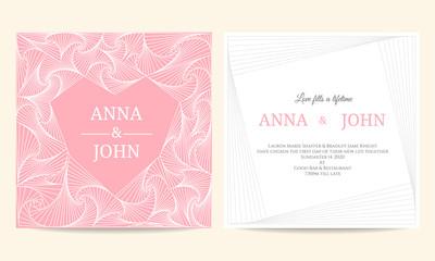 Wedding card - spiral line heart frame vintage vector template design
