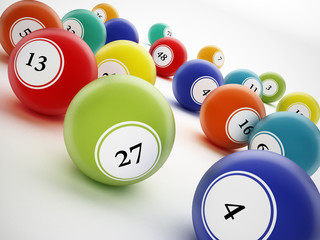 Bingo balls with generic numbers. 3D illustration