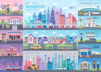 Wall Mural - Big City Infographic set with charts and other elements.