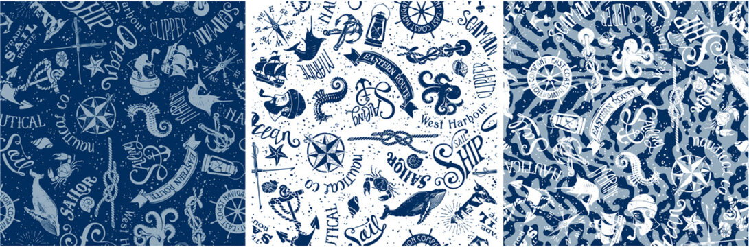 vintage nautical and marine elements, vector seamless pattern