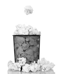 Metallic black trash from  paper isolated on white background.