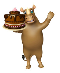 Rhino cartoon character with cake