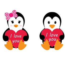 penguin girl and boy with heart vector