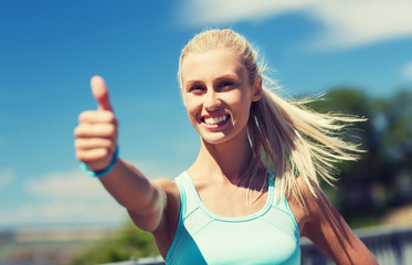 happy young woman exercising outside