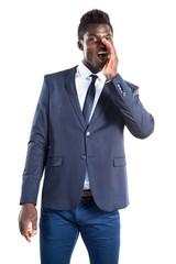 Handsome black man shouting