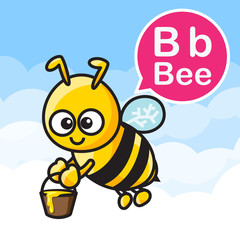 B Bee cartoon color and alphabet for children to learning vector