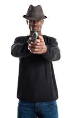 Black man holding a pistol