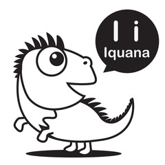 I Iguana cartoon and alphabet for children to learning and color