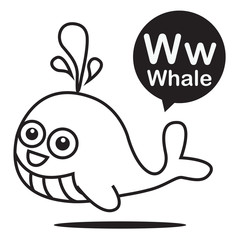 W Whale cartoon and alphabet for children to learning and colori
