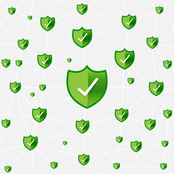 Safty shield securty network connection vector illustration eps1