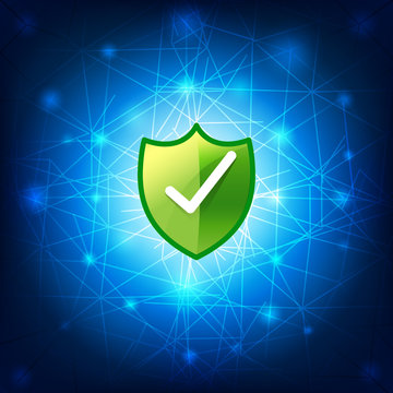 Safty shield securty network connection on blue background vecto