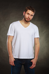 Handsome casual fashion man guy in blank shirt.