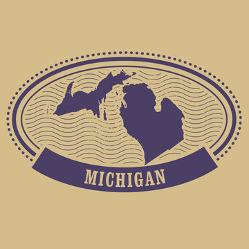 Michigan map silhouette - oval stamp