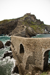 ancient coastal path to island church of san juan de gaztelugatxe, basque country, spain