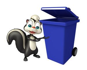 Skunk cartoon character with dustbin
