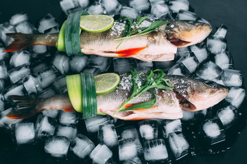 Cooking background, fresh fish on the ice cubes