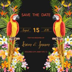 Save the Date. Wedding Card. Tropical Flowers. Parrot Bird. Tropical Design