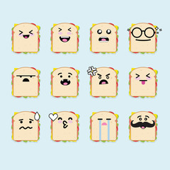 Smilies emoji emoticon face in sandwich with a lot of variation