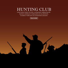Hunter silhouette with child. Outdoor hunting sport. Vector illustration.
