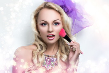 Portrait of beautiful young sexy lady, model, woman, actress, Barbie. Perfect makeup, long eyelashes, clean leather,gentle pink lips. Image can be used for advertising means of skin care,cosmetic.